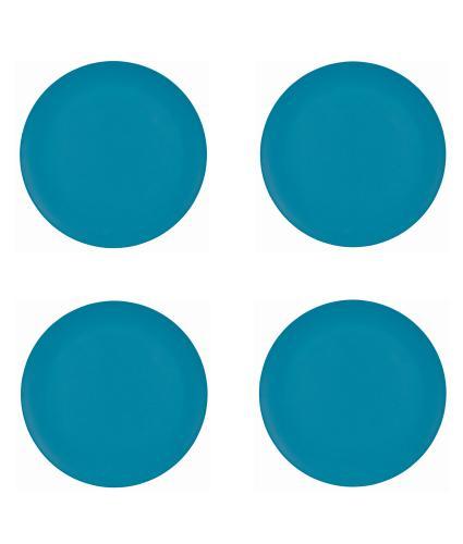 4 Piece Blue Bamboo Side Plate Set