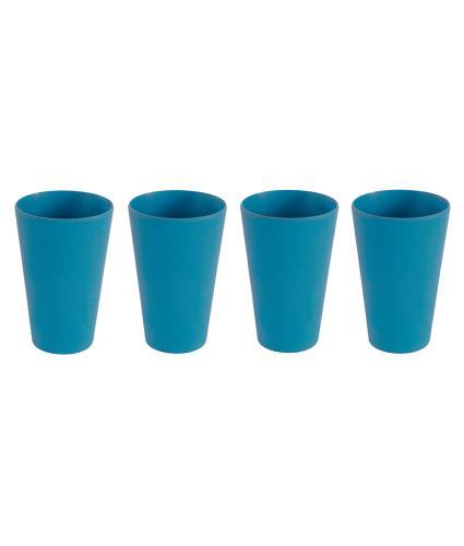 4 Piece Blue Bamboo Tumbler Set