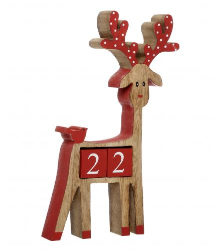 Mini Wooden Advent Reindeer Cancer Research UK Christmas Gift