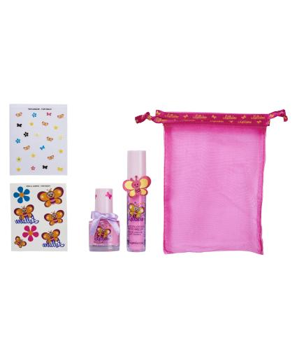 Lallabee Children's Barbie Pink Nail Polish and Strawberry Lip Gloss Gift Bag