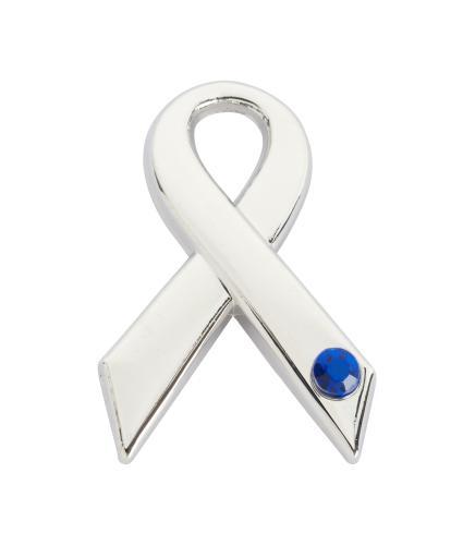 Blue Gem Ribbon Pin Badge