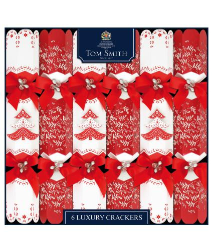Tom Smith 6 Red & White Luxury Christmas Crackers