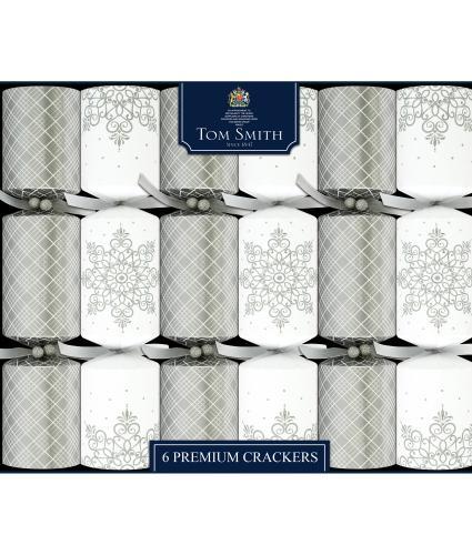 Tom Smith 6 Silver & White Premium Christmas Crackers