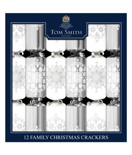 Tom Smith 12 Silver & White Snowflake Christmas Crackers