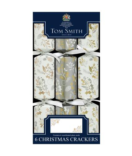 Tom Smith 6 Silver & Gold Dinner Cube Christmas Crackers
