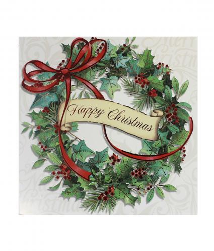 Cancer Research UK, Winter Wreath Bi-lingual Christmas Card