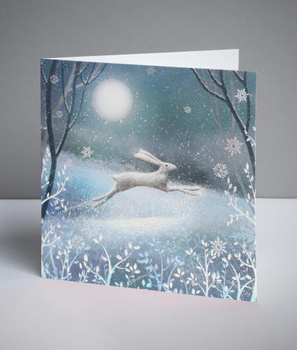 Moonlit Hare Christmas Cards, Pack of 10