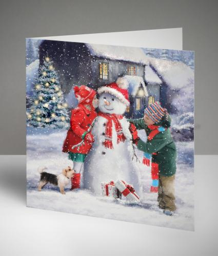 Dressing Up the Snowman Christmas Cards, Pack of 10