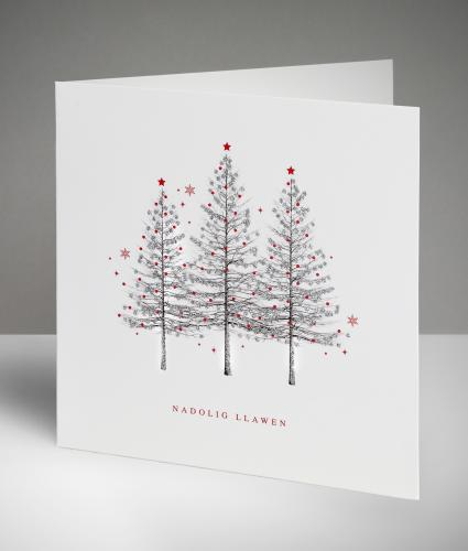 Sparkling Trio - Welsh Christmas Cards, Pack of 10
