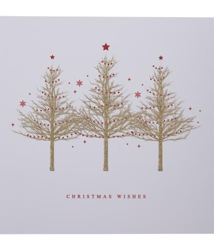 Gold Sparkle Trees Christmas Cards - Pack of 10