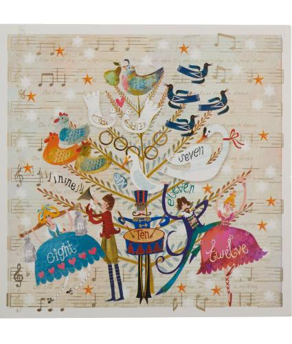 12 Days Of Christmas Musical Christmas Cards - Pack of 10