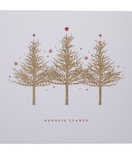 Gold Sparkle Trees Welsh Christmas Cards - Pack of 10