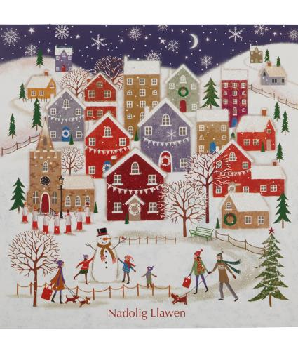 Village In Winter Welsh Christmas Cards - Pack of 10