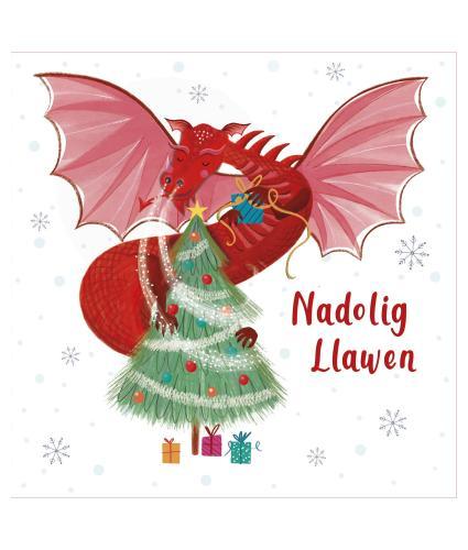 Red Dragon Welsh Bilingual Christmas Cards - Pack of 10 / Draig Goch Cardiau Nadolig Dwyieithog - Pecyn o 10
