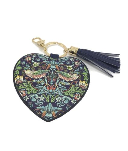 William Morris Strawberry Thief Faux Leather Keyring