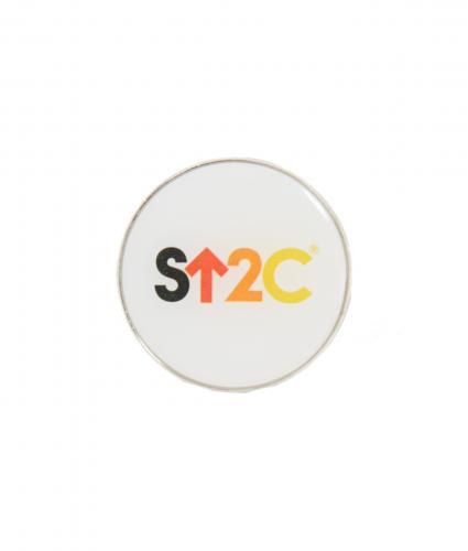 White Circular Short Logo Pin Badge