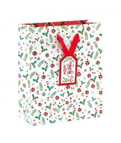 Festive Foliage Holly Medium Gift Bag