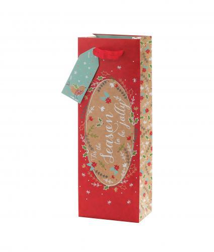 Festive Kraft Design Bottle Gift Bag