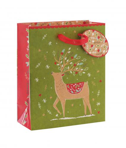 Festive Kraft Design Medium Gift Bag