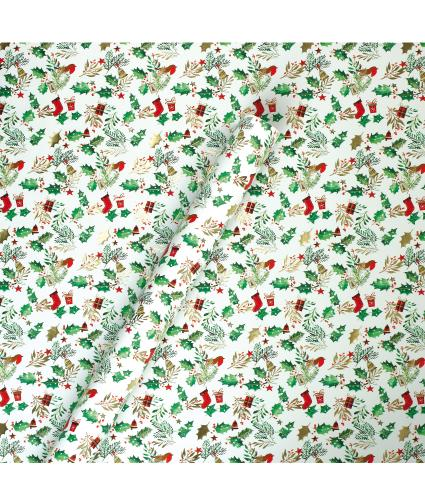 Tom Smith Festive Robin & Holly Wrapping Paper