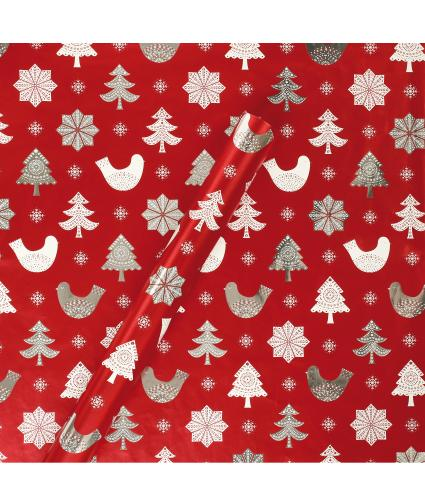 Tom Smith Red Nordic Noel Wrapping Paper
