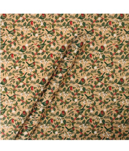 Tom Smith Traditional Robin & Holly Wrapping Paper