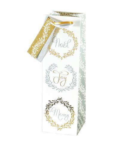 Gold & Silver Festive Bottle Gift Bag
