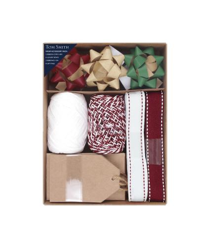 Tom Smith Kraft Wrap Accessory Set - Red, White and Brown