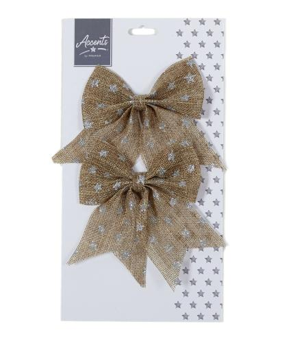 Natural Jute Star Print Bow Twin Pack - Silver
