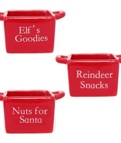 Red Santa Snack Bowl Set