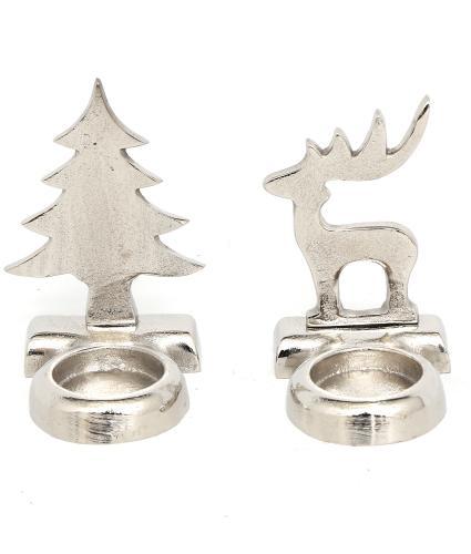 Christmas Tree & Reindeer Tea Light Holder Set