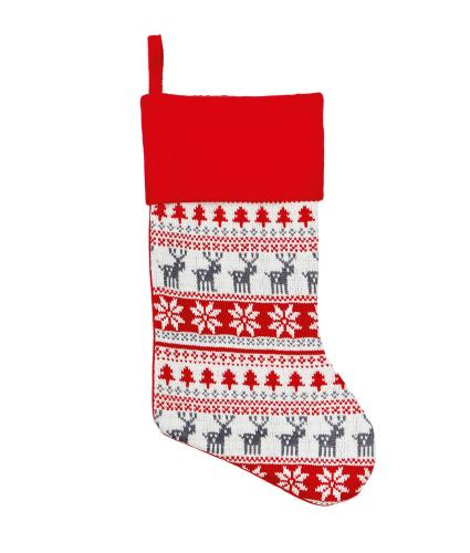 Knitted Red Scandi Christmas Stocking