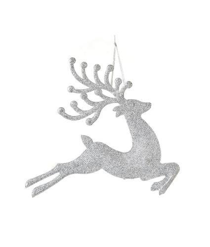 Silver Glitter Prancing Reindeer Hanging Tree Decoration