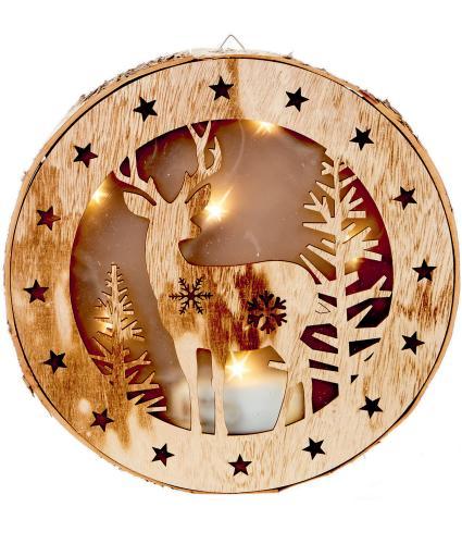 LED Wooden Winter Forest Reindeer Scene Light