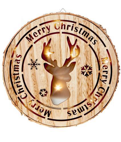 LED Wooden Christmas Reindeer Scene Light
