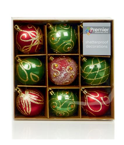 Red & Green Patterned Baubles Pack of 9