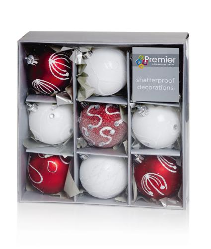 Red & White Patterned Baubles
