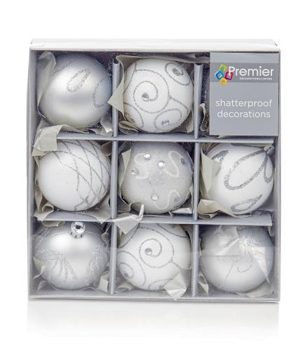 Silver & White Patterned Baubles