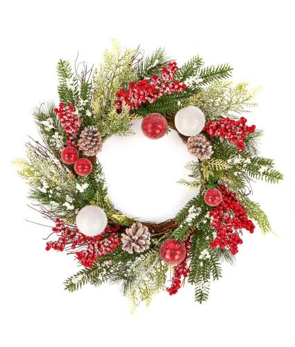 Red & White Berry Festive Wreath