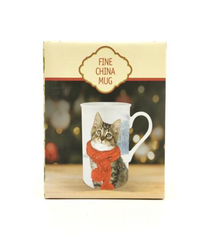 Winter Cat Boxed China Mug