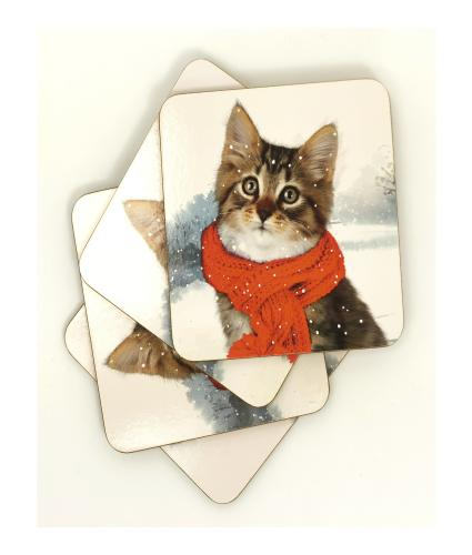 Winter Cat Set of 4 Drinks Coasters