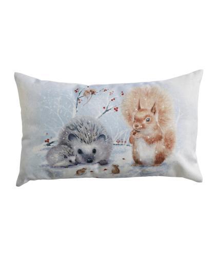 Winter Woodland Animal Bolster Cushion