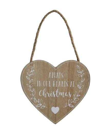 Remembrance Heart Wooden Hanging Decoration