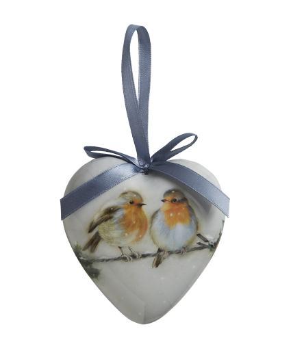 Winter Woodland Robin Heart Bauble