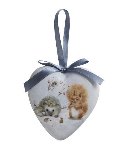 Winter Woodland Hedgehog & Squirrel Heart Bauble