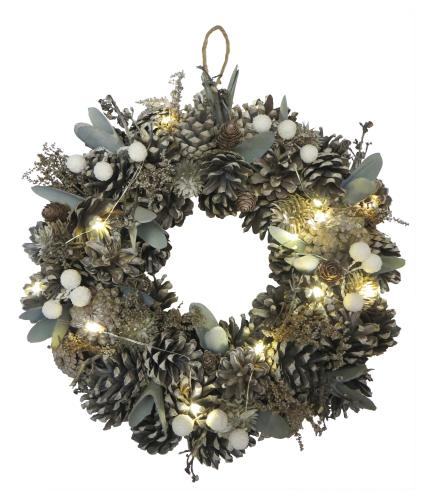 LED Lit Ice Blue Christmas Wreath