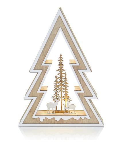 Lit Christmas Tree and Reindeer Decoration
