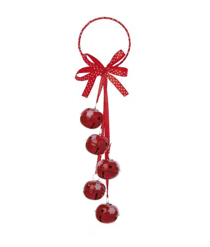 Jingle Bells Door Hanger Decoration - Red