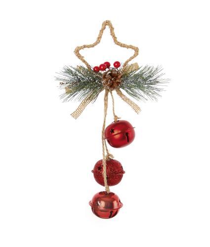 Jingle Bells Star Shaped Door Hanger Decoration - Red