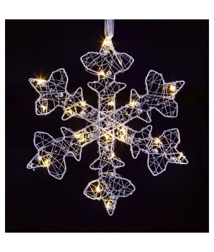 Silver LED Lit Snowflake Light Decoration